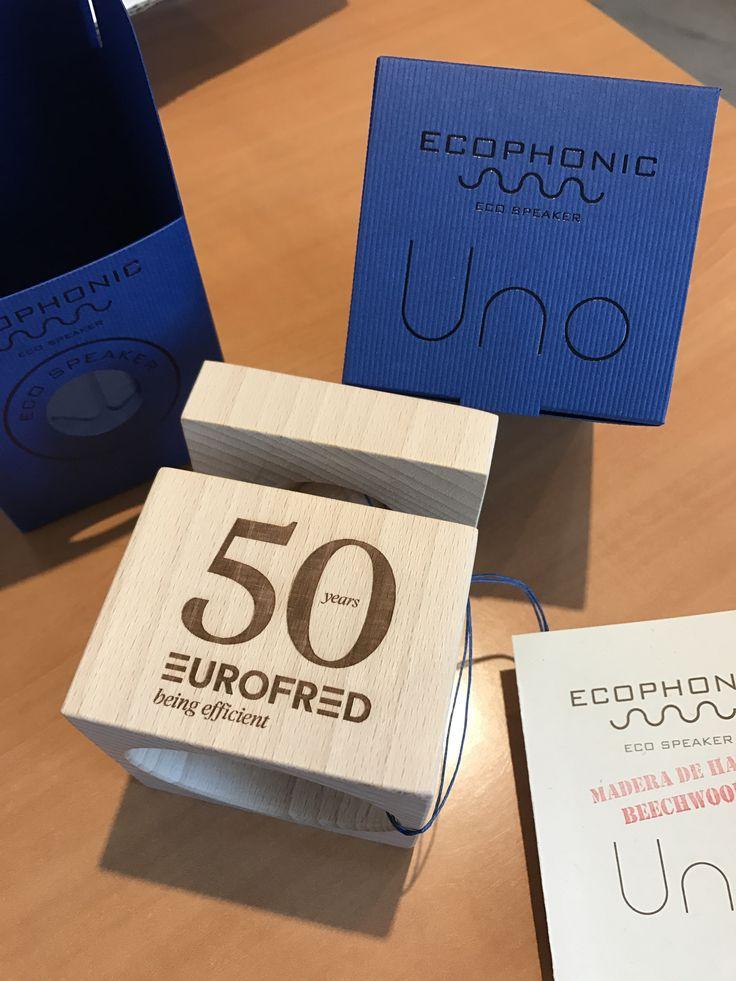 Personalización altavoz Uno en madera de haya para Eurofred