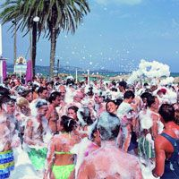 Foam party at Bora Bora beach club, bar, restaurant and nightclub. The most famous beach bar in Ibiza, Bora Bora is located on the Playa Den Bossa beach