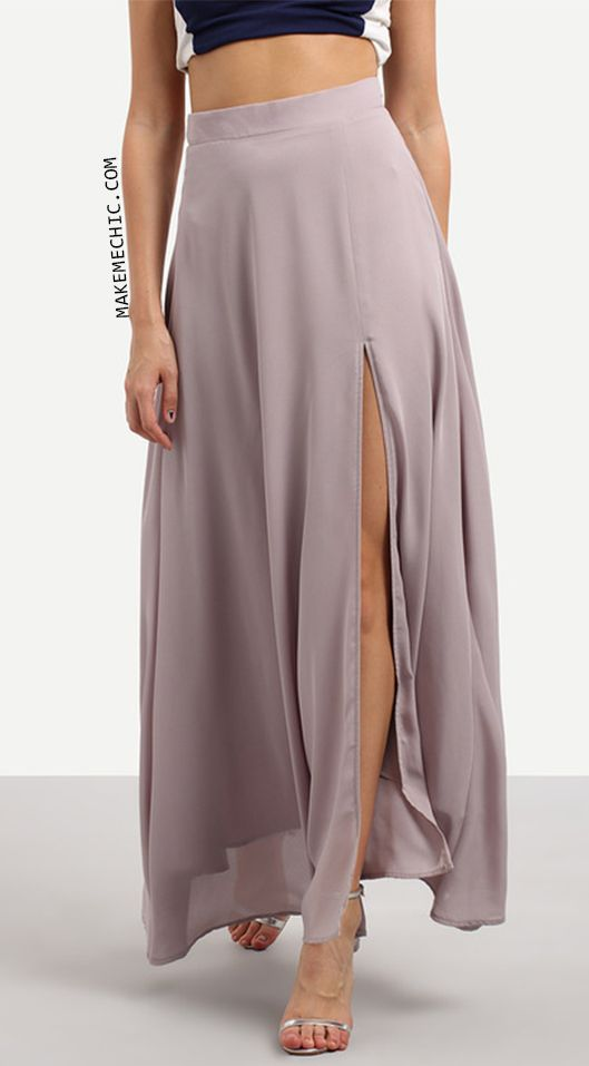 Purple Split Chiffon Maxi Skirt