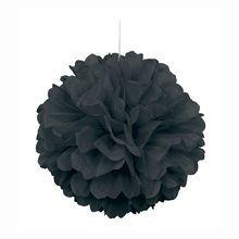 "Black Tissue Paper Pom Pom, 16"""