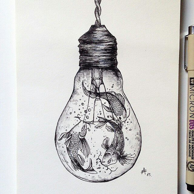 #Tbt - Koi lamp! Pen/pencil piece by @alfredbasha _____