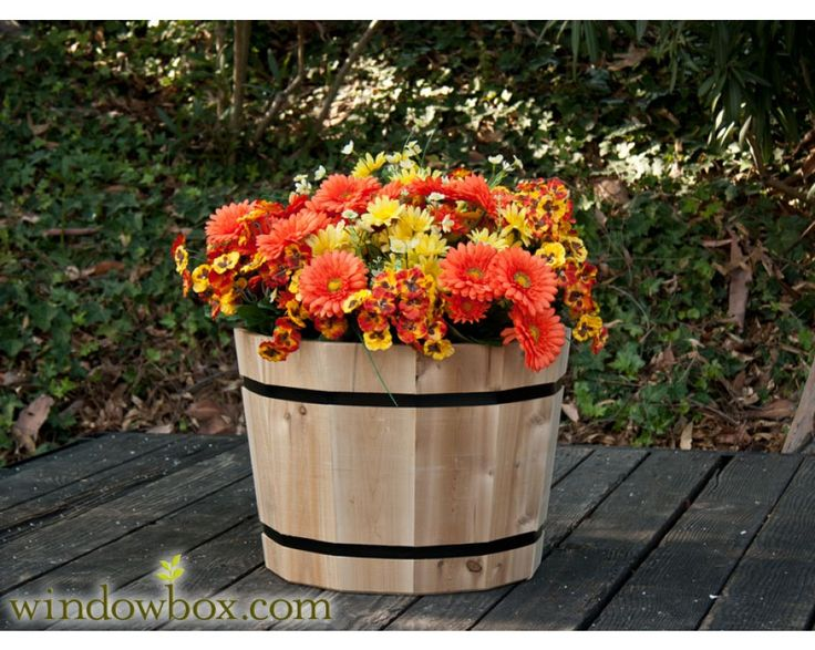 The 25 best whiskey barrel planter ideas on pinterest for Wooden barrel planter ideas