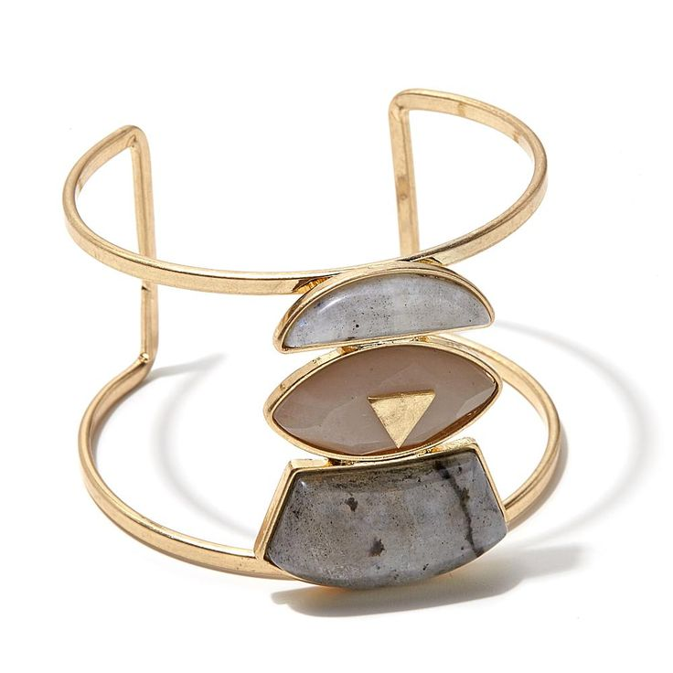 "Danielle Nicole ""Great Warrior"" 3-Stone Goldtone Open Cuff Bracelet"