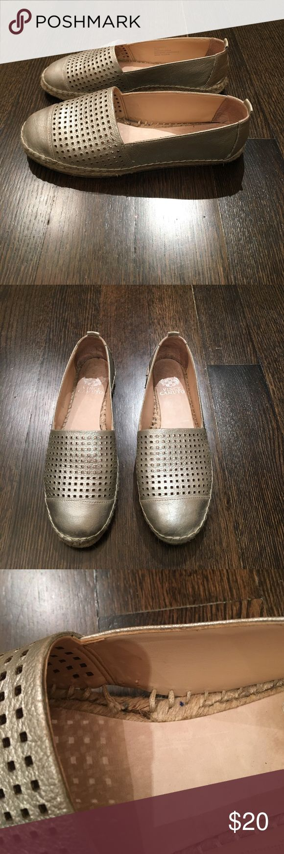 Vince Camuto espadrilles Silver espadrilles with perforated tops. Lightly used but left shoe lost stitches and needs to be fixed Vince Camuto Shoes Espadrilles