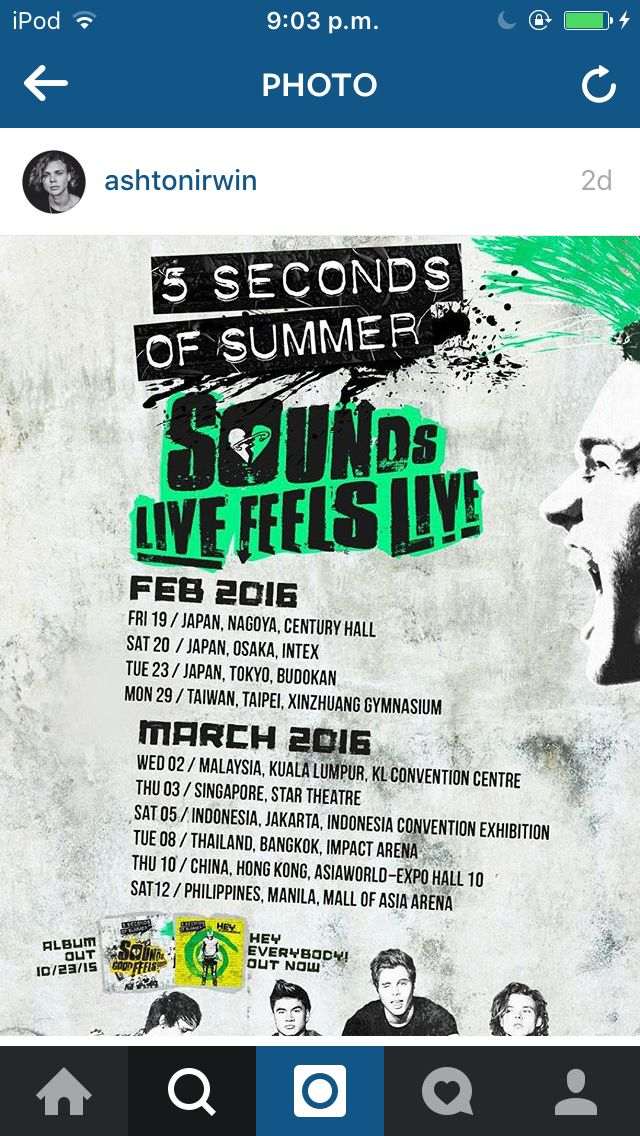 Ashton posted the Asia dates for Sounds Live Feels Live