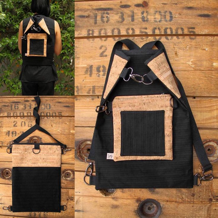 """4 ways to wear it: new design made from canvas and cork fabric, thanks to multiple hooks and adjustable long strap you can wear it in 4 different ways depending on the occasion and your mood , by """"Eating the Goober"""""""