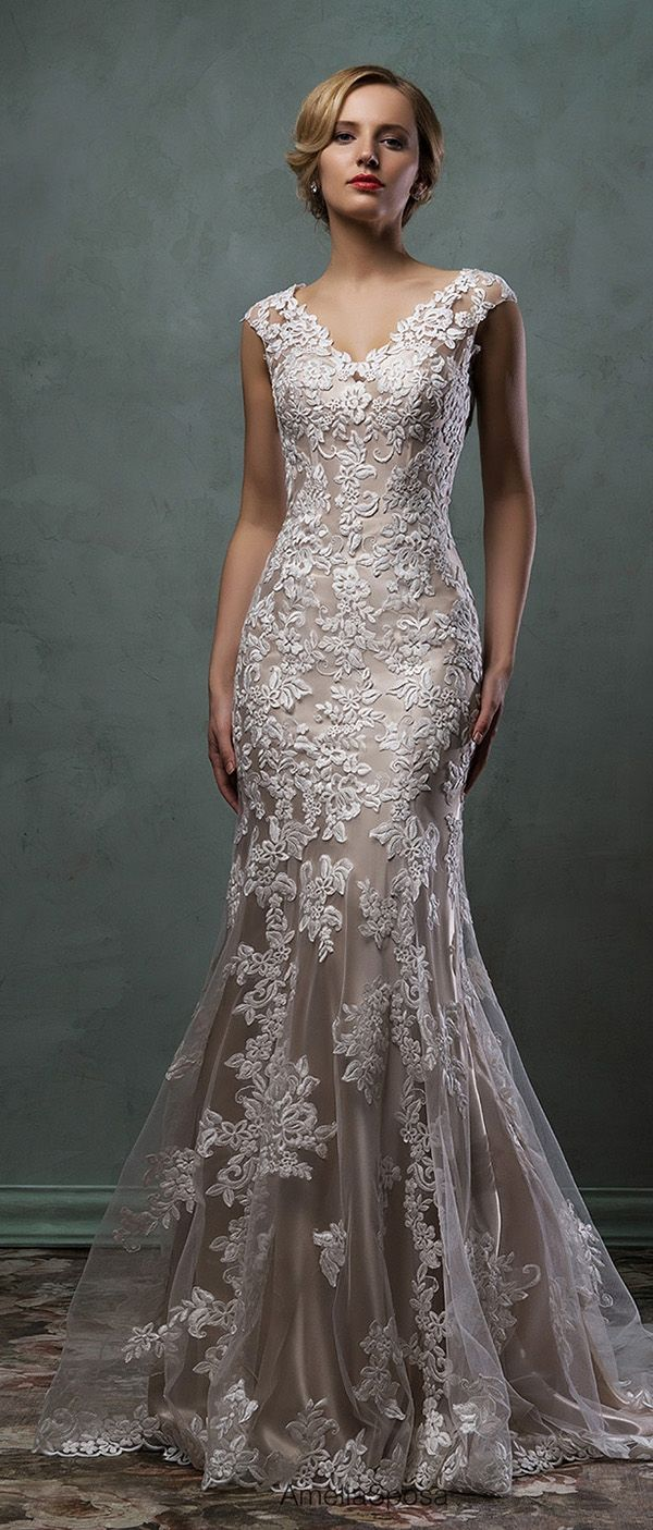 amelia sposa champagne underly lace wedding dress 2016 alba