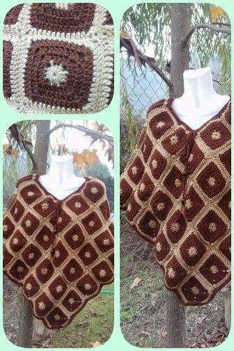 Poncho.granny cafe tejido a crochet