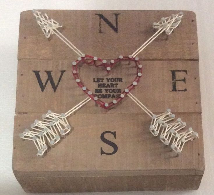 Primitives by Kathy String Art Let Your Heart Be Your Compass Picture Valentines  | eBay