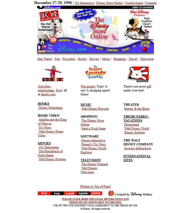 Disney website in 1996