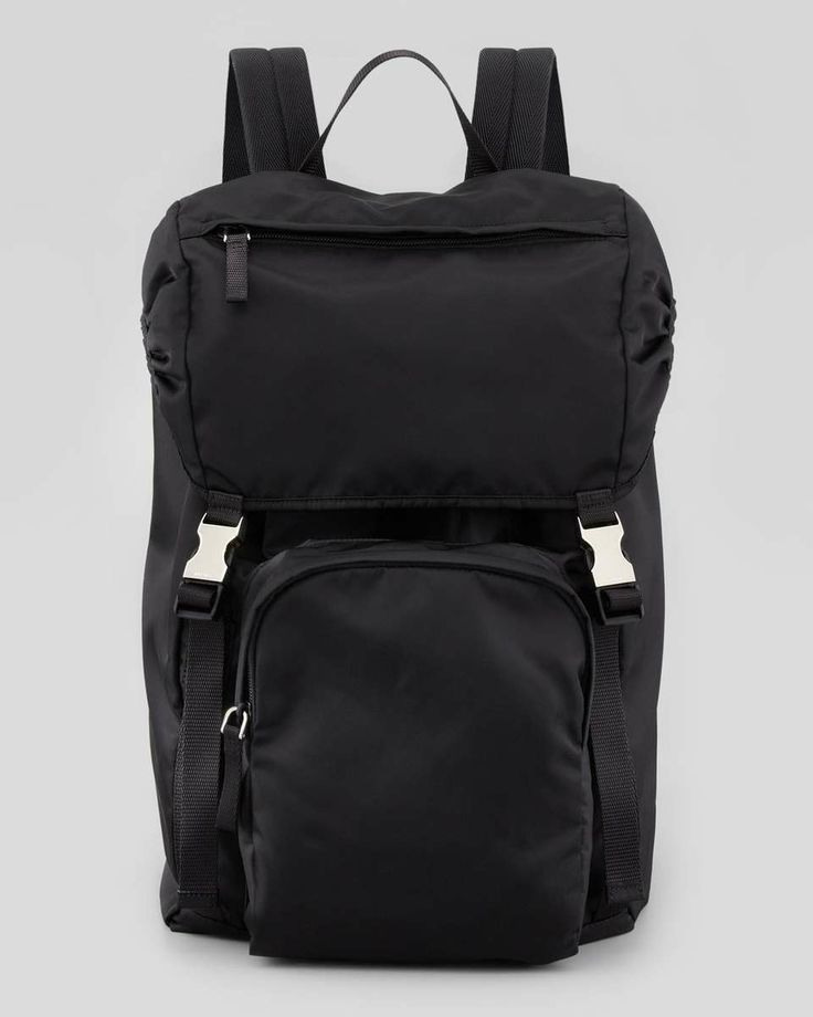 Men\u0026#39;s Nylon Double-Buckle Backpack, Black | Prada Men, Nylons and ...