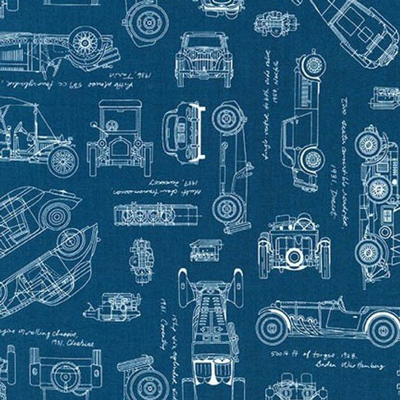 Vintage Car Fabric Vintage Blueprints Automobile