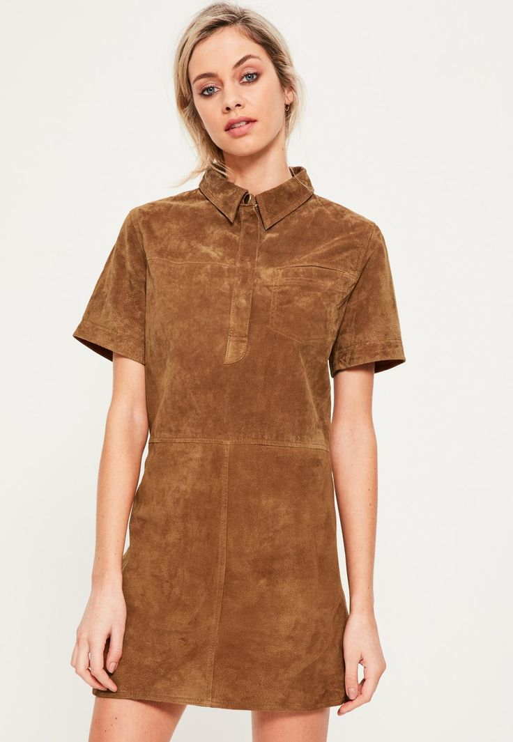 Tan Real Suede Shift Dress - Missguided