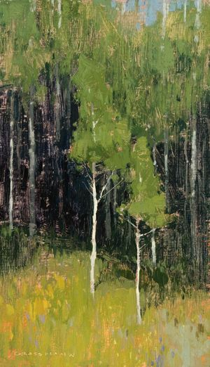 DAVID GROSSMAN Aspen near Silverthome Oil con panel