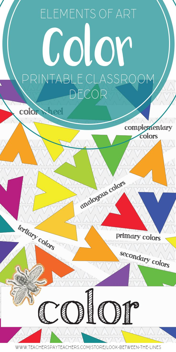 Cover the lovely cinderblock walls of your visual art classroom with a modern approach to the elements of art. This vibrant color poster covers the color wheel, complementary, analogous, primary, secondary, and tertiary colors.