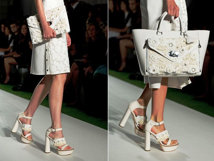 Mulberry White Floral Embellished Willow Clutch Bag Runway Spring 2014