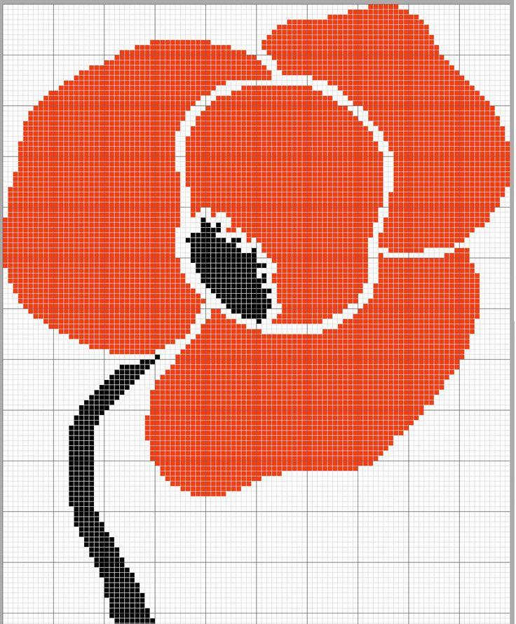 Coquelicot grille point de croix cross stitch