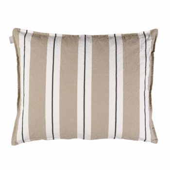 Linum  Beige Ralf Stripe Cushion: The Ralf Cushion from Linum comes with a wide beige and white stripes with contrasting black pin stripe design.