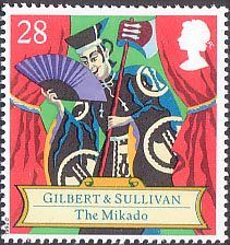 150th Birth Anniversary of Sir Arthur Sullivan (composer), Gilbert and Sullivan Operas 28p Stamp (1992) The Mikado