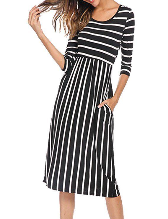 15124f2328a1 Halife Women s Loose Long Sleeve Midi Below Knee Trapeze Dress Black ...