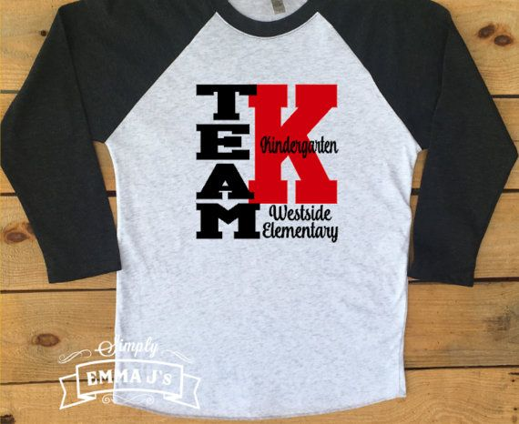 Kindergarten team, teacher shirt, teacher gift, Kindergarten shirt, women's shirt, teacher, baseball shirt, raglan