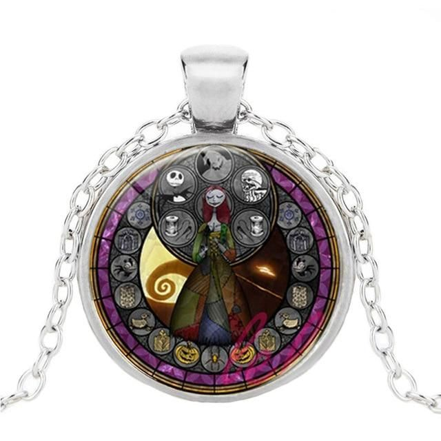 Jack And Sally Photo Cabochon Glass Tibet Silver Chain Pendant Necklace