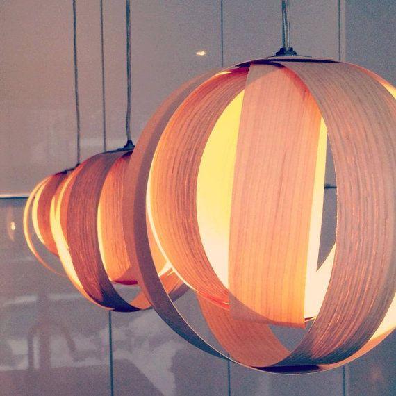 Boule 9 Wood veneer lamp by AtelierCocotte on Etsy