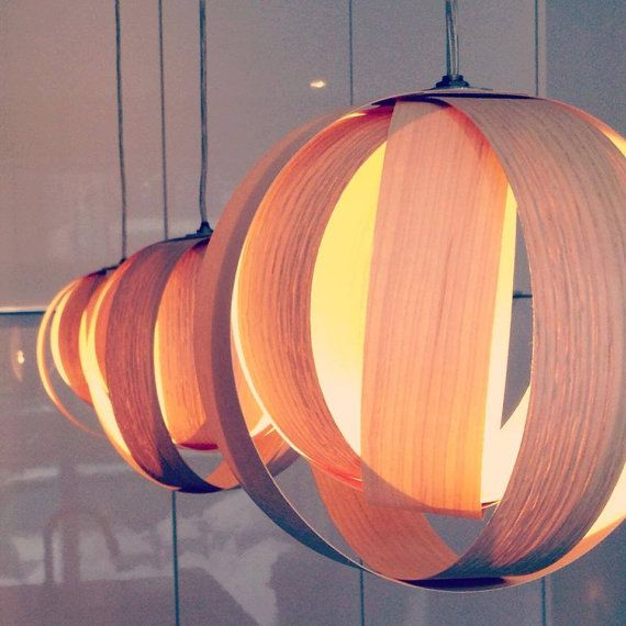 Boule 9 Wood veneer lamp by AtelierCocotte on Etsy