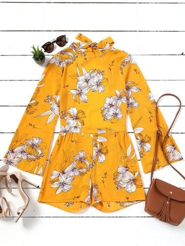 5620d6ec28d Tied Up Back bodysuits Jumpsuit Romper Summeryellow flower print Backless Playsuits  Women Sexy Cotton summer long sleeve