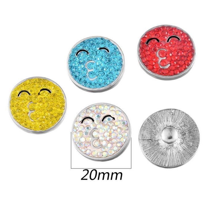 25Pcs Mixed Emoji Face Kiss Pattern Rhinestone Snap Botton Fit Snap Bracelet