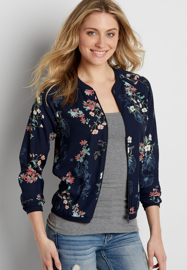 chiffon bomber jacket in navy blue floral print