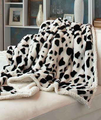 Plush COW Print Sherpa Throws