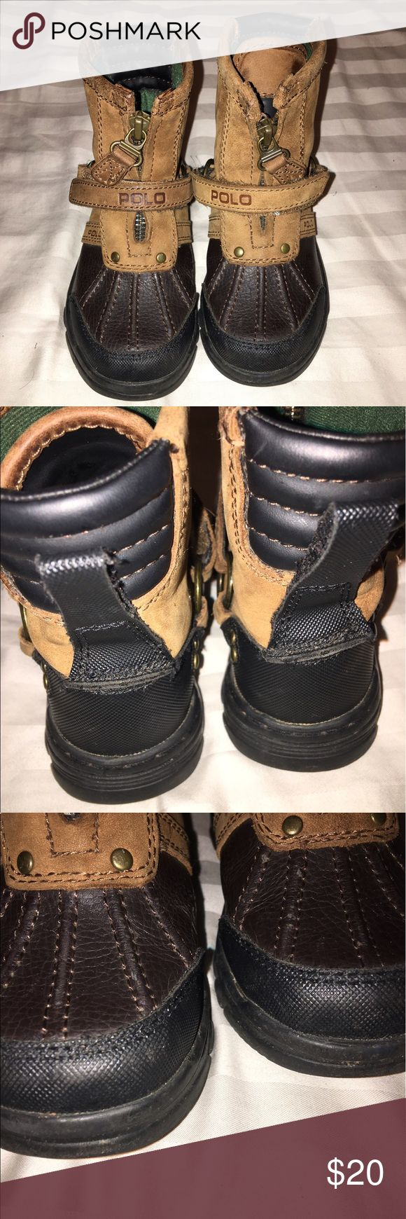 EUC! Boys Polo Boots! Toddler Size 9 Tan Suede on Upper part of the shoe, dark brown leather on bottom. Only worn a few times. Polo by Ralph Lauren Shoes Boots