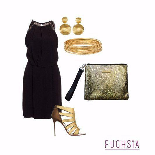 Nos encanta mostrarte con que outfits puedes llevar nuestros productos. Este es súper elegante para ir a una cena o a algún evento. Como elemento principal tenemos nuestro clutch dorado y unas sandalias que le hacen juego. Lo demás es un vestido negro básico y accesorios dorados. Te atreves?  #outfitfuchsia #viernesdeoutfit #designersvenezuela #diseñovenezolano #outfit #propuestas #atuendo #moda #fashion #style #clutch #vestido #dress #itsfriday #friday #viernes #closetvenezolano…