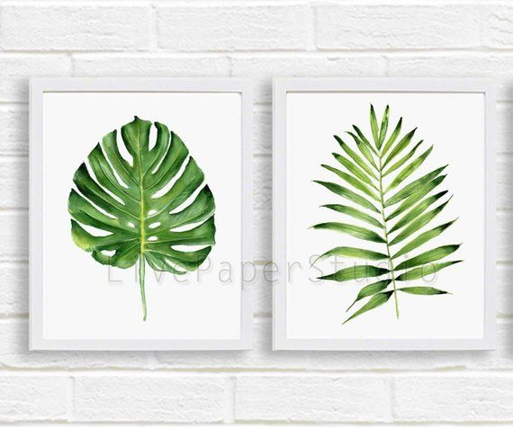 Green Tropical Leaves Print Set Of 2 Digital Download Palm Leaf