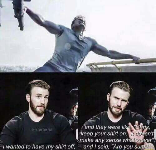 Chris Evans talking about the helicopter scene in Captain America Civil War. Who needs logic? ;)