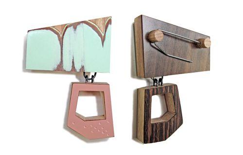 Karen Vanmol  Wood, formica, veneer, silver, steel pin  Brooch, 2012