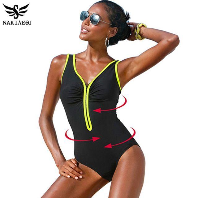 Nakiaeoi baño de una pieza 2017 nuevo más el tamaño de trajes de baño mujer trajes de baño ropa de playa de verano de la vendimia de la cremallera acolchado natación 4xl