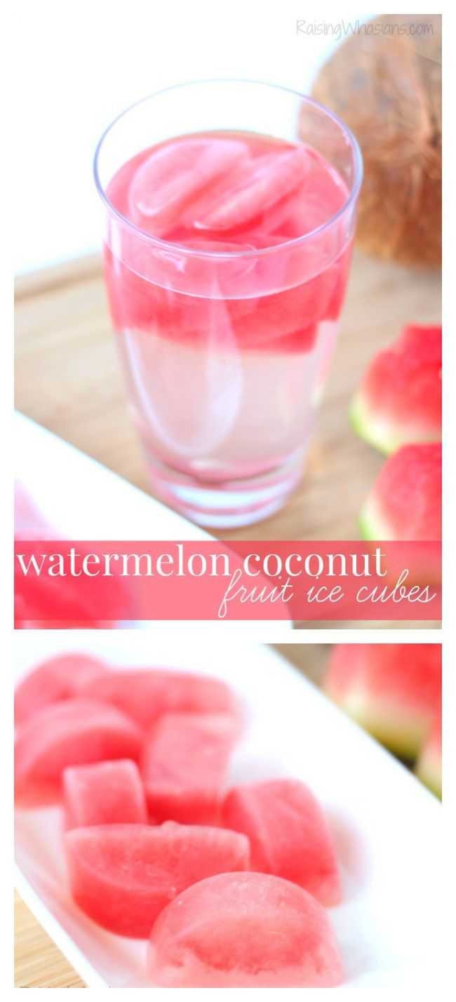 Watermelon Coconut Fruit Ice Cubes - a fun and easy way to infuse your water, perfect for summer!