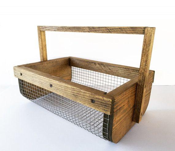 hand made stained wood wire garden veggie basket