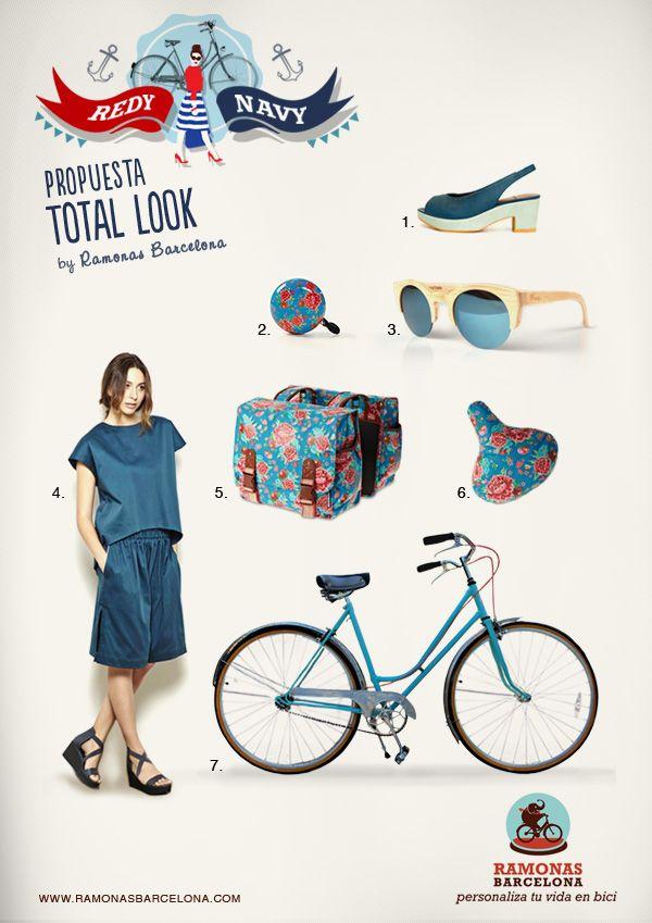 Personaliza tu bicicleta con complementos Total Look en azul:    1· Sandalias Eva vs Maria  |  2· Timbre Gran Goong Gardenias Azul  |  3· Gafas Hiroto de Woodys  |  4· Pantalón a Rodilla de Ssic and Paul |  5· Alforja Gardenias L Azul  |  6· Funda sillín Gardenias Azul  |   7· Bicicleta reformada de Bicicletas El Gallo