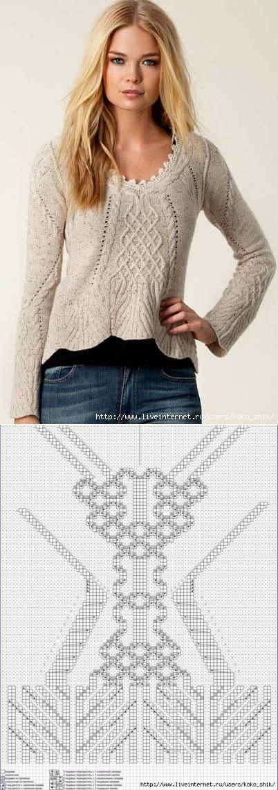 Вязание спицами - Пуловер с аранами и косами.