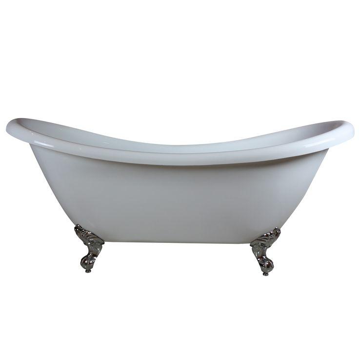 Wentworth White Clawfoot Bath with Chrome Feet 1760mm