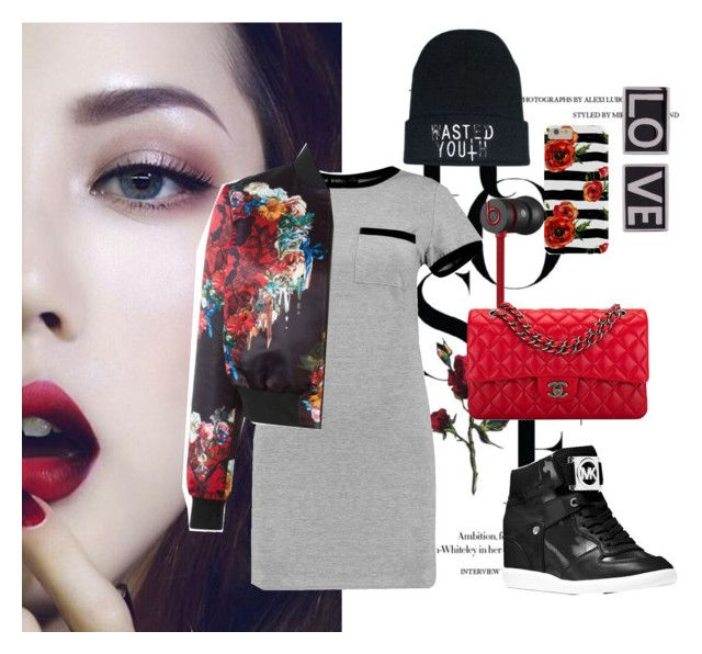 """Hyuna's Red"" by rebelseekingcause ❤ liked on Polyvore featuring Beats by Dr. Dre, Chanel, Boohoo, Philipp Plein, MICHAEL Michael Kors and Givenchy"