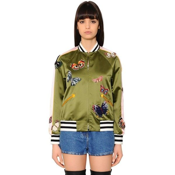 Valentino Women Butterflies Silk Satin Bomber Jacket ($5,955) ❤ liked on Polyvore featuring outerwear, jackets, olive green, army green bomber jacket, striped bomber jacket, green military jacket, green bomber jacket and flight jacket