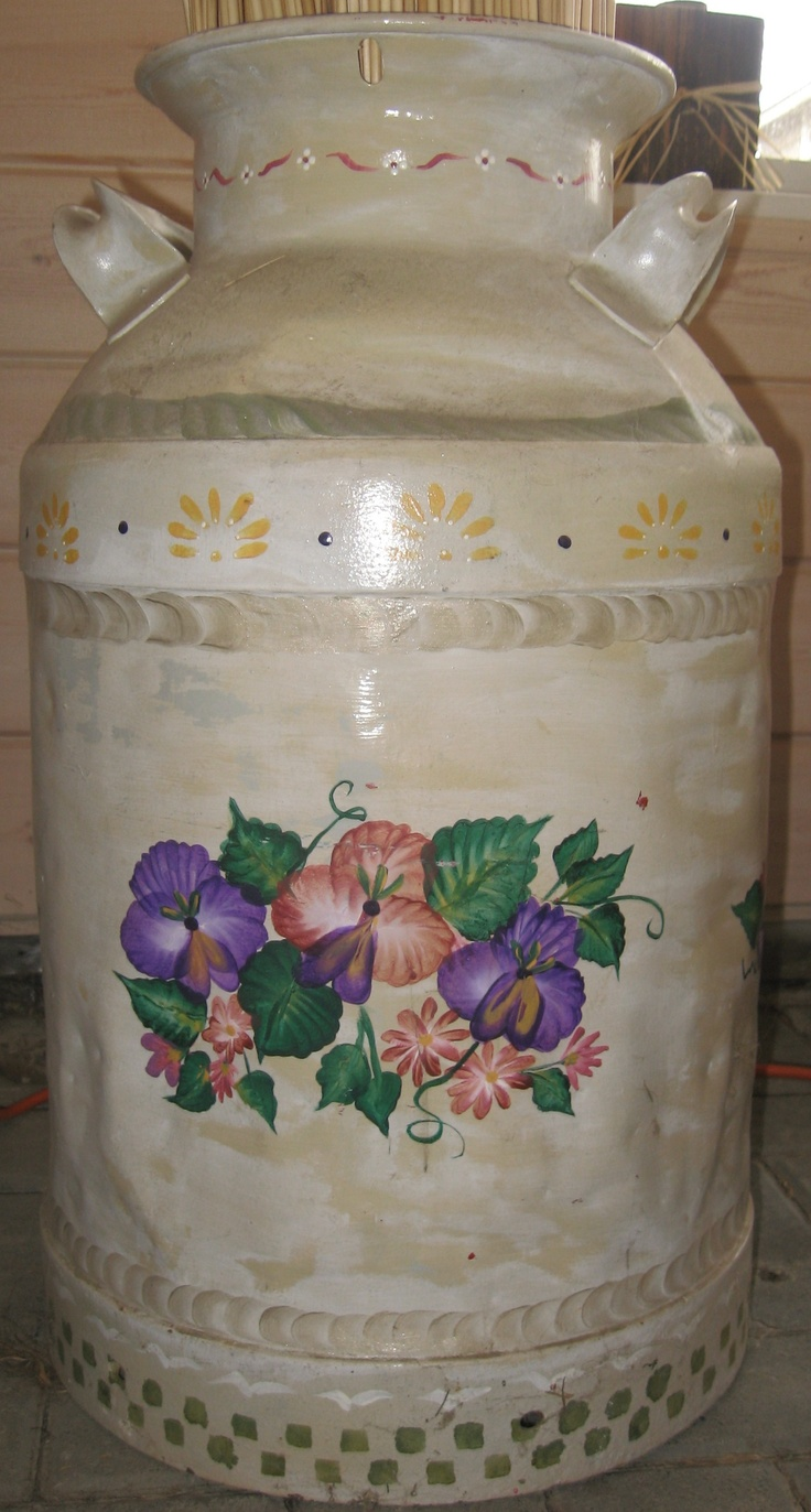 decorative paint by Michele Donohue, acrylic on milk can, pansy's