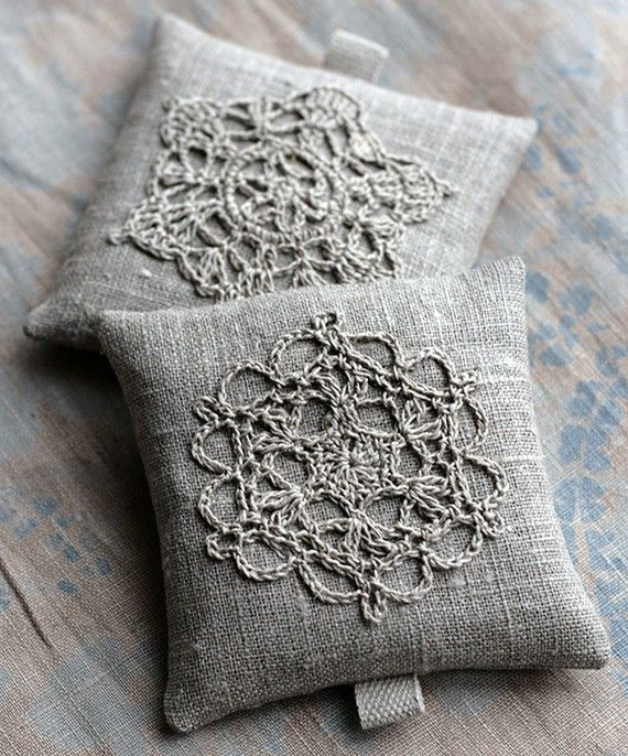 Lavender sachets  crochet motif  set of 2 by namolio on Etsy.  Could also be a cute pillow idea.