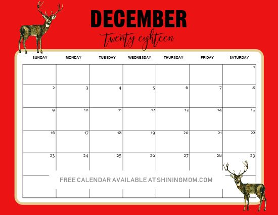 Christmas Themed 2020 December Printable Calendar FREE Christmas Themed December Printable Calendars! | Shining Mom