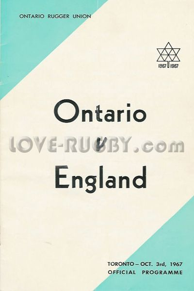 #rugby today 03/10 in 1967 : Ontario 3-33 England - rugby tour programme from Toronto