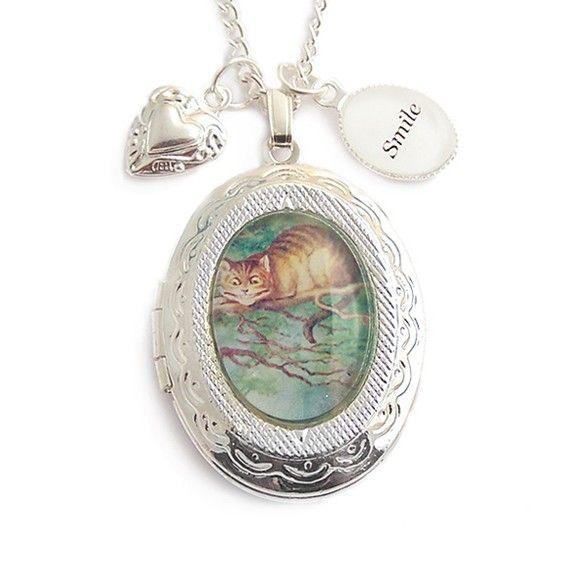 Alice in Wonderland necklace Cheshire cat smile by LunarraStar, $37.00